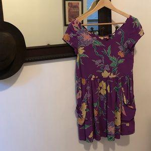 Purple, floral dress
